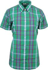 Relco Ladies Green Tartan Check Short Sleeve Button Down Collar Shirt