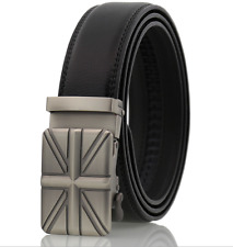 Mens Union Flag Buckle Automatic Leather Ratchet Casual Fashion Belt