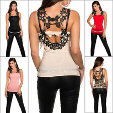 Sexy Top Embroidered Lace Back Clubbing Party T-Shirt Rhinestones & Bow Koucla