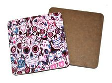 Sugar skull wood mug coasters cup coffee tea matt gothic