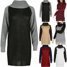 Ladies Baggy High Sweater Womens Chunky Knit Oversized Contrast Sleeve Jumper
