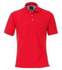 Casamoda Polo Shirt Rouge Manches Courtes Normal Coupe Col avec 3-knopf Col