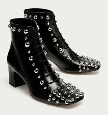 ZARA HIGH HEEL LEATHER ANKLE BOOTS WITH STUDS 6088/201 EU38 BOTÍN TACÓN TACHAS