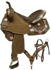 """15"""", 16""""  barrel style saddle set with red, white and blue painted feathers"""