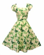Vintage 1950s Style Green Cream Butterfly Rockabilly Pin-Up Party Swing Dress