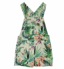 Ex Store Baby Girls Tropical Flower Short Shortie Dungarees Age 3 6 9 12 18 Mths