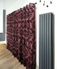 PAIR OF RINGTOP FULL FLOCK DAMASK FULLY LINED EYELET CURTAINS BLACK LIME GREEN
