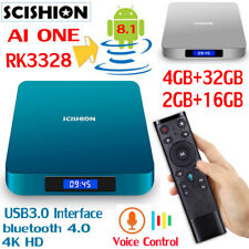 Android 8.1√SCISHION AI ONE Smart TV Box Voice Control USB3.0 BT4.0 Media Player