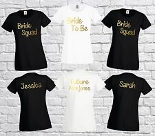 Personalised Bride To Be, Bride Squad Lady Fit T-Shirt Bridal Hen Party T Shirt