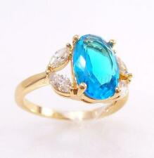 Fashion1uk Diamanti Finti 18K Placcato Oro Giallo Blu Acqua