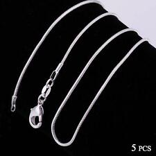 Fashion 5pcs 925 Sterling Solid Silver Necklace 1mm Snake Chain 16-30inch ZH