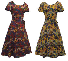New Ladies Retro WW2 Wartime 1930's 1940's Style Floral Wine Yellow Tea Dress