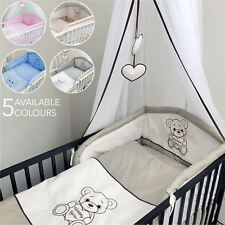 5 Piece pcs Baby Bedding Cot Cotbed Bumper Set Duvet Cover Bear Moon Embroidery