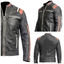 Vintage Biker Style Motorbike Genuine Leather Jacket Black