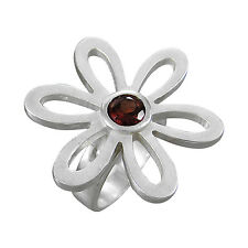 Schmuck-Michel Anillo Flores Plata 925 Granate 1Ct - Talla 50-65 Disponible