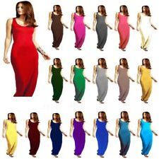 Womens Racer Maxi Dress Ladies Jersey Long Vest Muscle Back Size UK 8-26