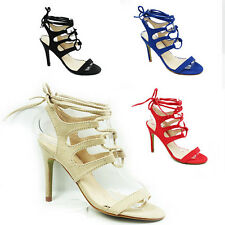 WOMENS STRAPPY TIE UP STILETTO HEEL CUT OUT SANDALS LADIES SHOES NEW SIZE 3-8