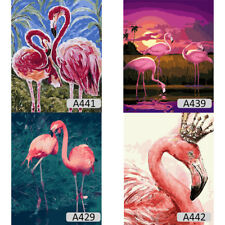 DIY Flamingo Oil Painting Hand Painted ON Canvas Frameless Wall Craft Home Decor