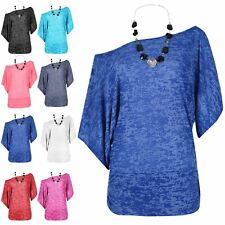 Ladies Summer Oversize Scoop Neck Mini Top Womens Curved Hem Burn Out T Shirt