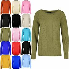 Womens Ladies Ribbed Neckline Long Sleeve Oversized Chunky Grid Knit Jumper Top