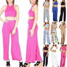 Women's Ladies Halter Neck Crop Top Wide Leg Palazzo Trousers Co-Ord Set 2 Piece