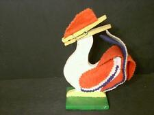 VINTAGE WOODEN ROOSTER RECIPE HOLDER CLOTHES PIN FELT HAND MADE (A21)
