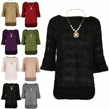 Ladies Necklace Top Womens Dipped Hem Bell Sleeve Oversized Baggy Jumper UK 8-14