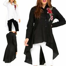 Ladies Rose Embroidered Dipped Hem Womens Collared Hi-Lo Button Shirt Dress Top