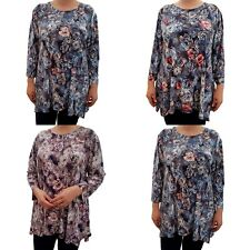 Wolfairy Womens Plus Size Top Blouse Floral Asymmetric Lagenlook Long Sleeve