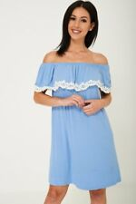 Off Shoulder Lace Detail Dress in Blue Ex Brand