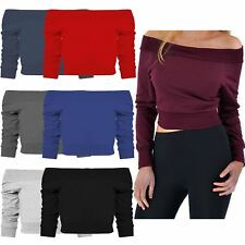 Ladies Off Shoulder Thermal Knitwear Sweater Cropped Mini Jumper Tops 8-14