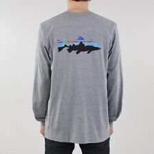 Patagonia New Fitz Roy Trout Long Sleeve Responsibili-Tee T-shirt Gravel Grey
