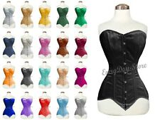 Double Steel Boned Heavy Duty Waist Trainer Body Shaper Satin Over Bust Corset