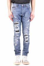 Philipp Plein Man Distressed Ripped Effect Slim Fit Blue Jeans  RRP £675