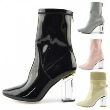e823db7c2d7 Ladies Womens Perspex Clear Block Heel Black White Patent Party Boots Size