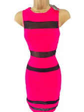 Womens Pink Sleeveless Zip Up Stretch Bodycon Party Dress Size 8-16