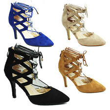WOMENS CUT OUT HIGH STILETTO HEEL TIE UP COURT SHOES LADIES SANDALS NEW SIZE 3-8