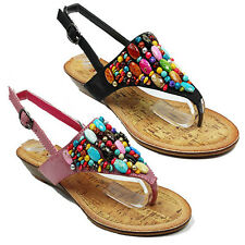 WOMENS WEDGE HEEL BOHEMIA BEADED T-STRAP FLIP FLOPS LADIES SANDALS NEW SIZE 3-8