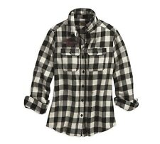 HARLEY-DAVIDSON - Ladies Plaid Checked Shirt Cotton Flannel Long Sleeved Thick
