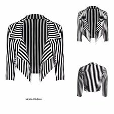 Ladies Womens Black & White Striped Cropped Waterfall Coat Casual Jacket Blazer