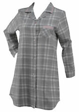 Grey Tartan Check Ladies Nightie 100% Cotton Button Down Womens Night Shirt