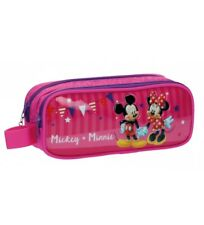 Minnie - Estuche doble compartimento Mickey y Minnie Party rosa -23x9x7cm-