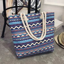 Women Canvas Bohemian Style Striped Shoulder Simple Casual Tote Floral Bags