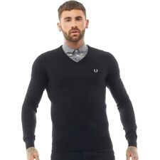 Fred Perry Merino Wool Classic Tipped V-Neck Sweater Black SMALL