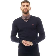 Fred Perry Mens Classic Tipped V-Neck Sweater Navy SMALL