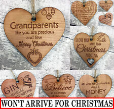 Novelty Christmas Gift Funny Plaque Gin Xmas Stocking Filler Engraved Wood Heart