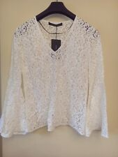 ZARA LACE BLOUSE Flared BELL SLEEVES - Size XS-XL OFF-WHITE Floral  REF 3872/040