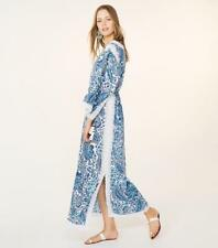 NEW Tory Burch Hilary Caftan Embroidered Blue Lagoon Floral White Dress 4