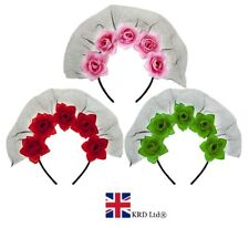DAY OF THE DEAD ROSES VEIL HEADBAND Halloween Girls Fancy Dress Accessory UK