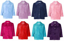 Bed Jacket Ladies Button Up Soft Fleecy Ribbed Detail House Coat Small - XXL